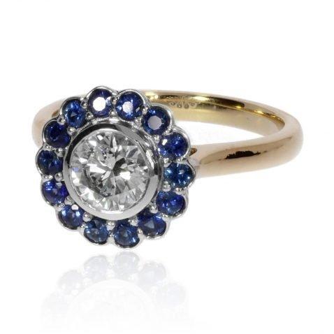 Diamond and Sapphire cluster ring by Heidi Kjeldsen Jewellery R1686 side