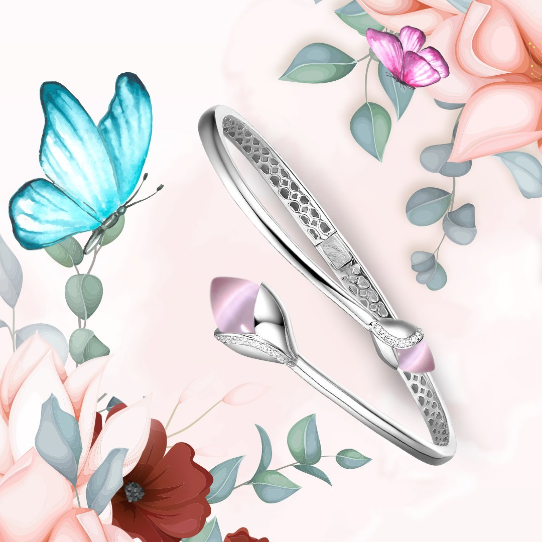 Fei Liu Magnolia Collection Bangle with Double Pink Heidi Kjeldsen Jewellers BL1403 Branch