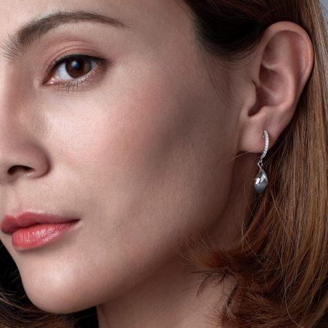 Fei Liu Magnolia Collection Grey Hoop earrings Heidi Kjeldsen Jewellery ER2583 Model