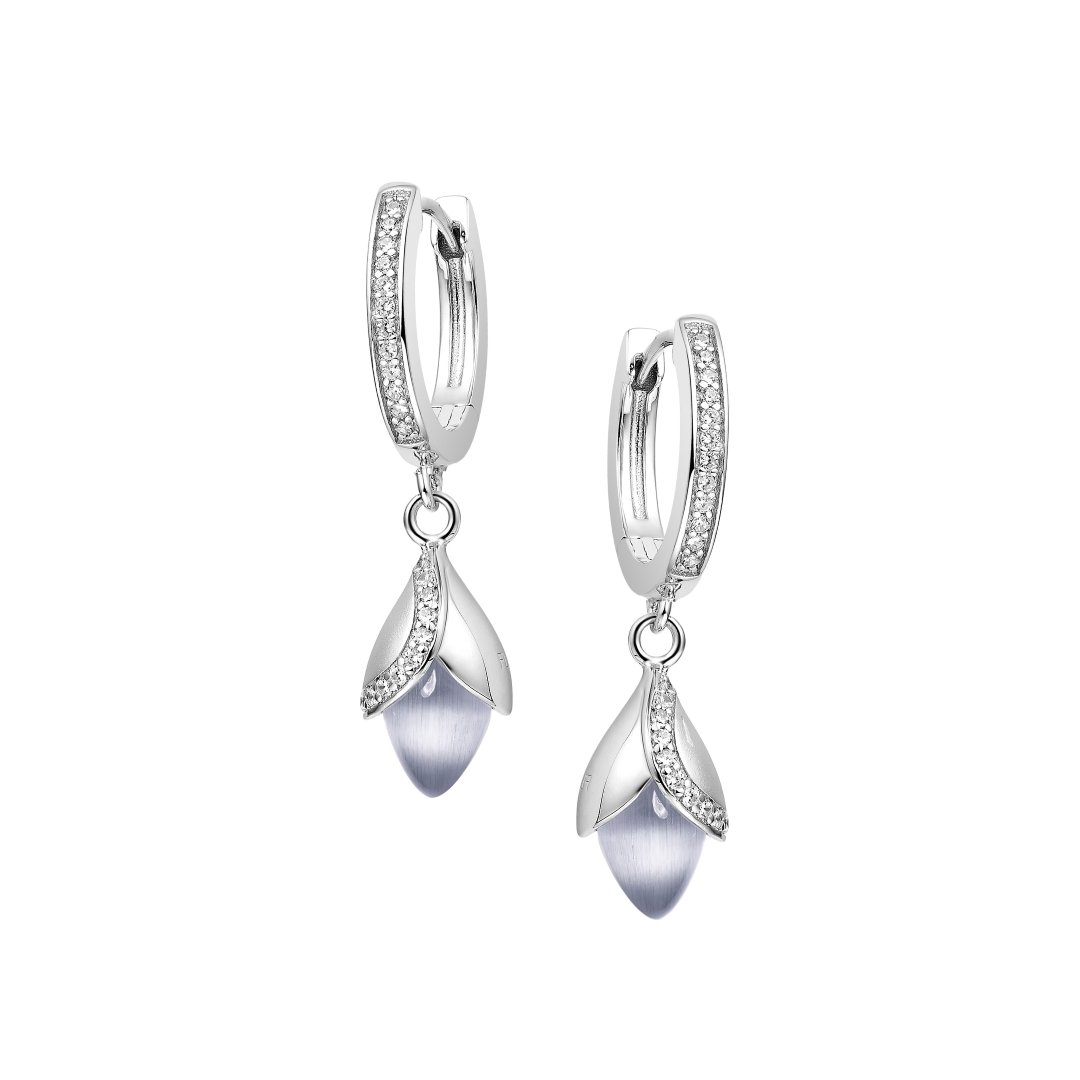 Fei Liu Magnolia Collection Grey Hoop earrings Heidi Kjeldsen Jewellery ER2583 Front