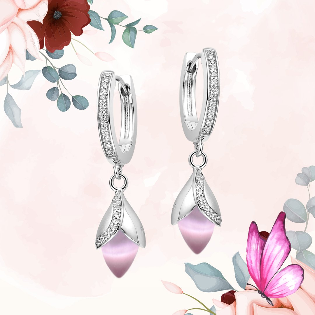 Fei Liu Magnolia Collection Pink Hoop earrings Heidi Kjeldsen Jewellery ER2584 Branch