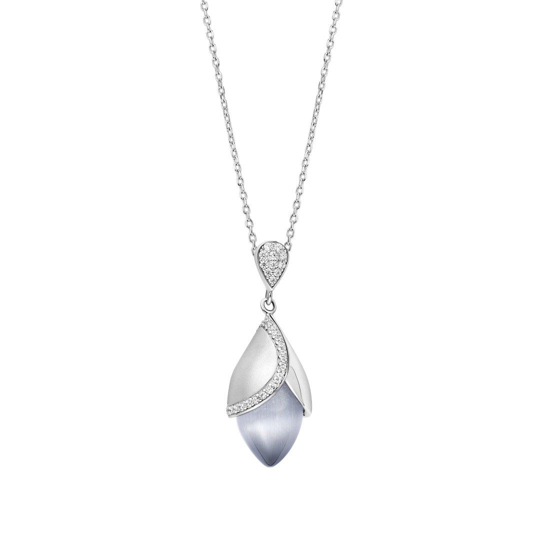Fei Liu Magnolia Collection Large Grey Pendant with Leaf Heidi Kjeldsen Jewellers P1483 Front