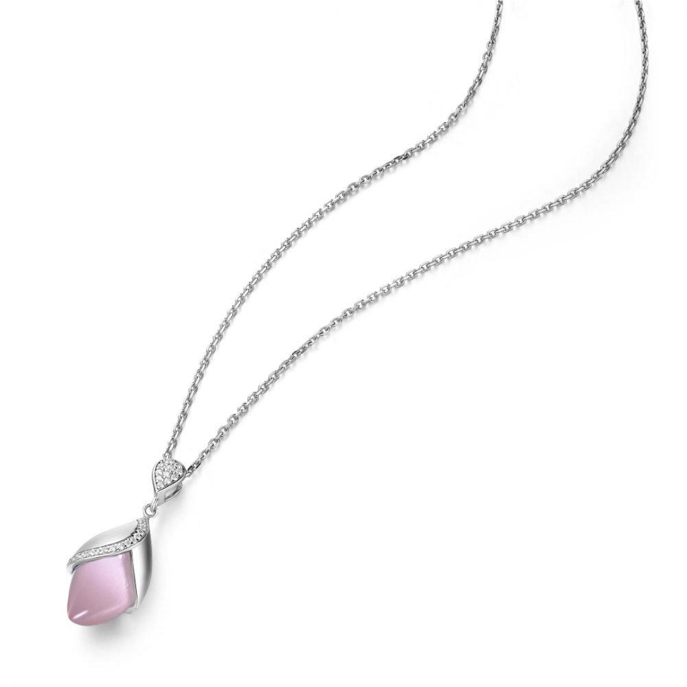 Fei Liu Magnolia Collection Large Pink Pendant with Leaf Heidi Kjeldsen Jewellers P1484 Top