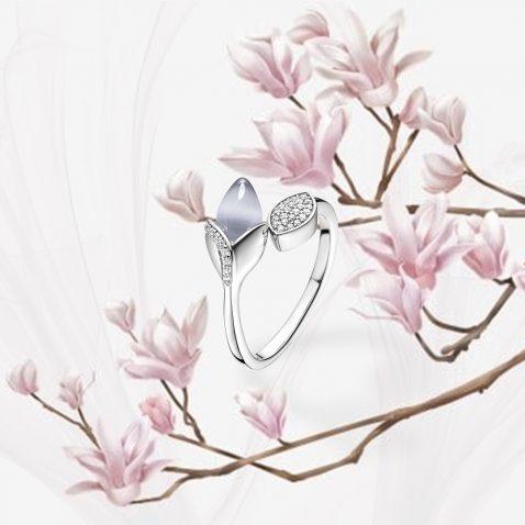 Fei Liu Magnolia Collection Grey with Leaf Heidi Kjeldsen Jewellers R1687 Branch