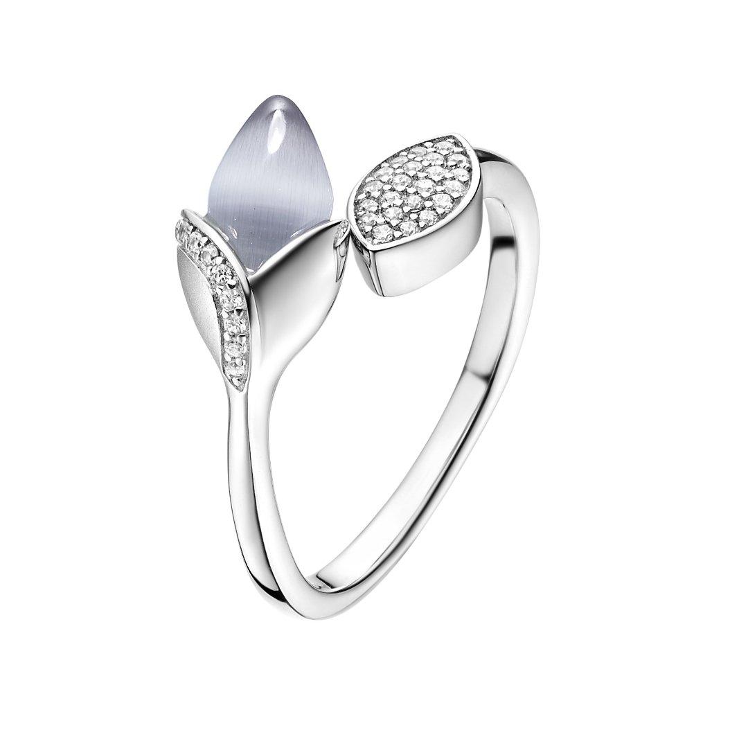 Fei Liu Magnolia Collection Grey with Leaf Heidi Kjeldsen Jewellers R1687 Side