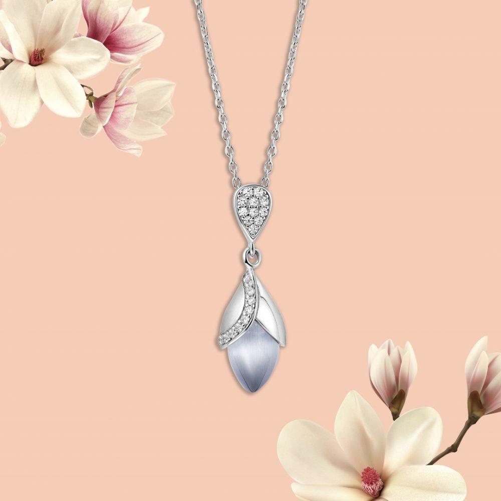 Fei Liu Magnolia Collection Grey Pendant With Leaf Heidi Kjeldsen Jewellers P1481 Branch