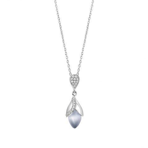 Fei Liu Magnolia Collection Grey Pendant With Leaf Heidi Kjeldsen Jewellers P1481 Front