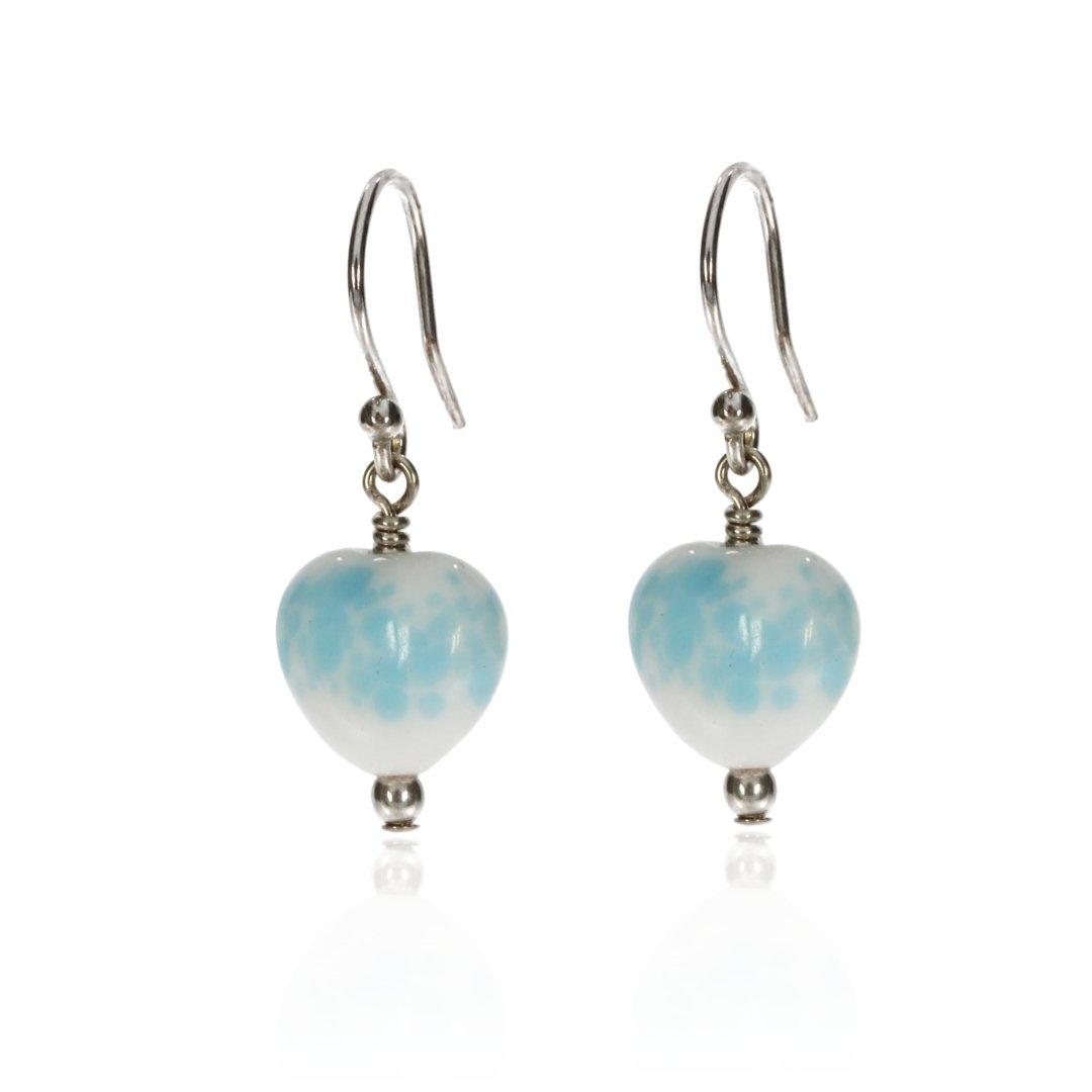 Glass Speckled Heart Earrings By Heidi Kjeldsen Jewellery ER2479 Front