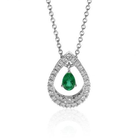 Sandawana Emerald and Diamond Pear shaped pendant by Heidi Kjeldsen Jewellery P1474 Front