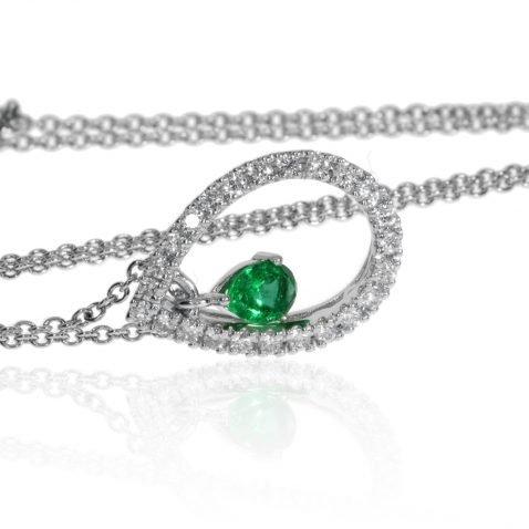 Sandawana Emerald and Diamond Pear shaped pendant by Heidi Kjeldsen Jewellery P1474 Side