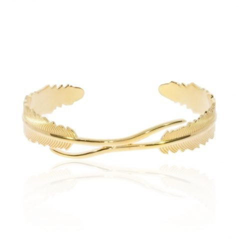"""Gold Plated Sterling Silver """"Leaf"""" bracelet by Heidi Kjeldsen Jewellery BL1400 Front"""