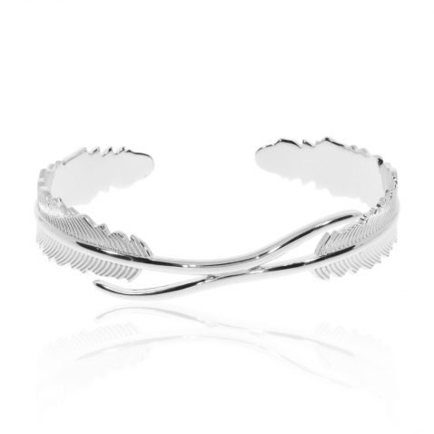 """Sterling Silver """"Leaf"""" bracelet by Heidi Kjeldsen Jewellery BL1399 Front"""