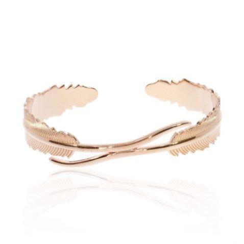 "Rose Gold Plated Sterling Silver ""Leaf"" bracelet by Heidi Kjeldsen Jewellery BL1401 Front"