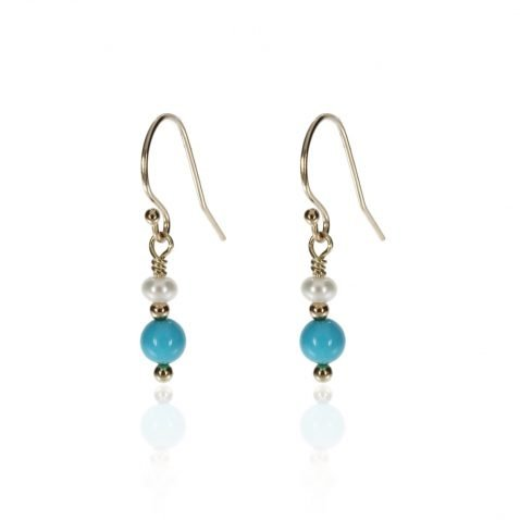 Turquoise and Cultured Pearl Drop Earrings By Heidi Kjeldsen Jewellery ER4722 Front