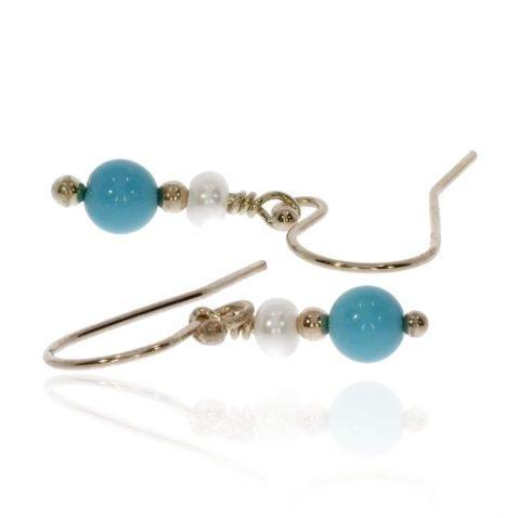 Turquoise and Cultured Pearl Drop Earrings By Heidi Kjeldsen Jewellery ER4722 Side
