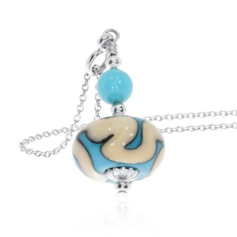 Turquoise glass pendant by Heidi Kjeldsen Jewellery Standing