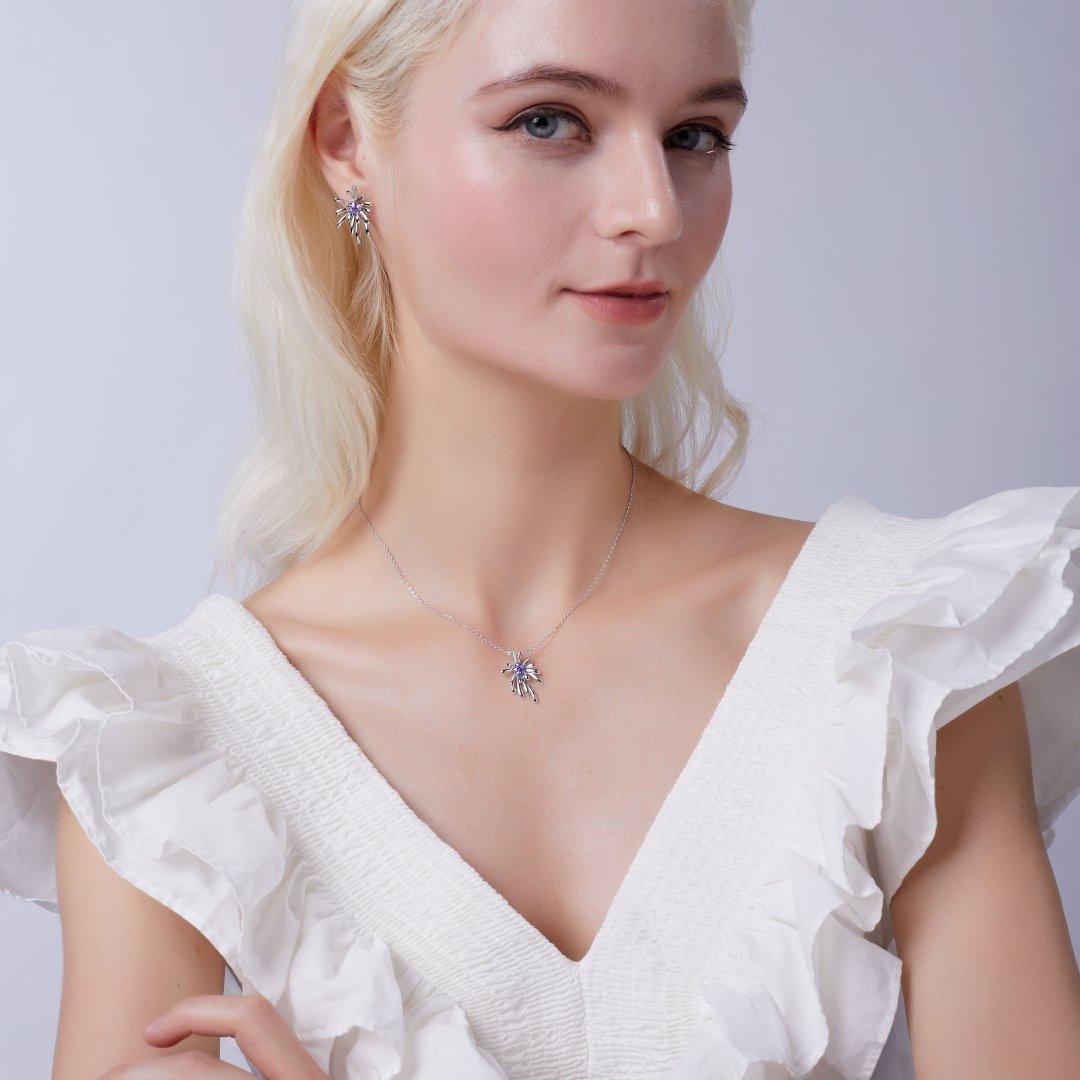Fei Liu Carpe Diem Collection Heidi Kjeldsen Jewellery Crosette Pendant and earrings P1491 ER2593 Model