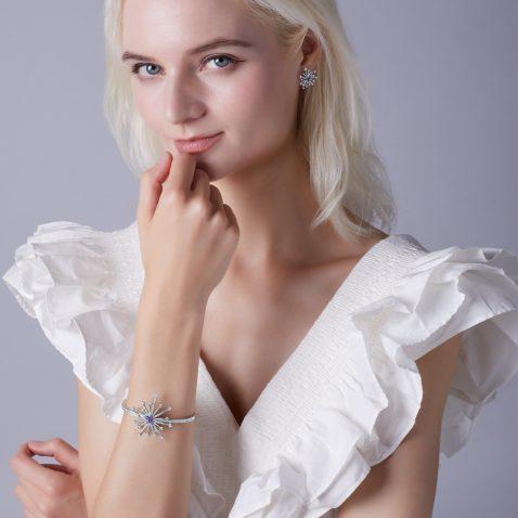Fei Liu Carpe Diem Collection Heidi Kjeldsen Jewellery Sparkler Earrings ER2592 and BL1405 Model