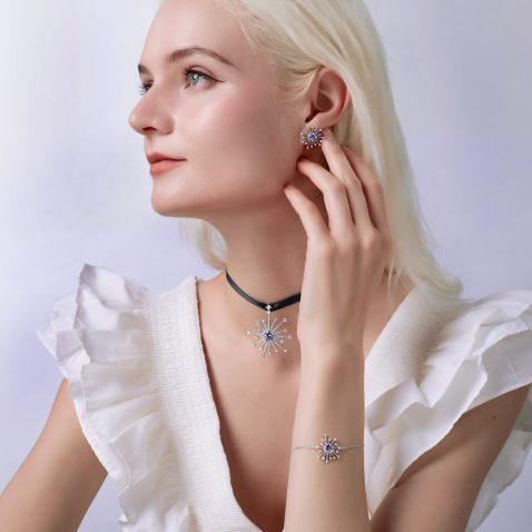 Fei Liu Carpe Diem Collection Heidi Kjeldsen Jewellery Sparkler Earrings ER2592 and Pendant P1490 Model 3