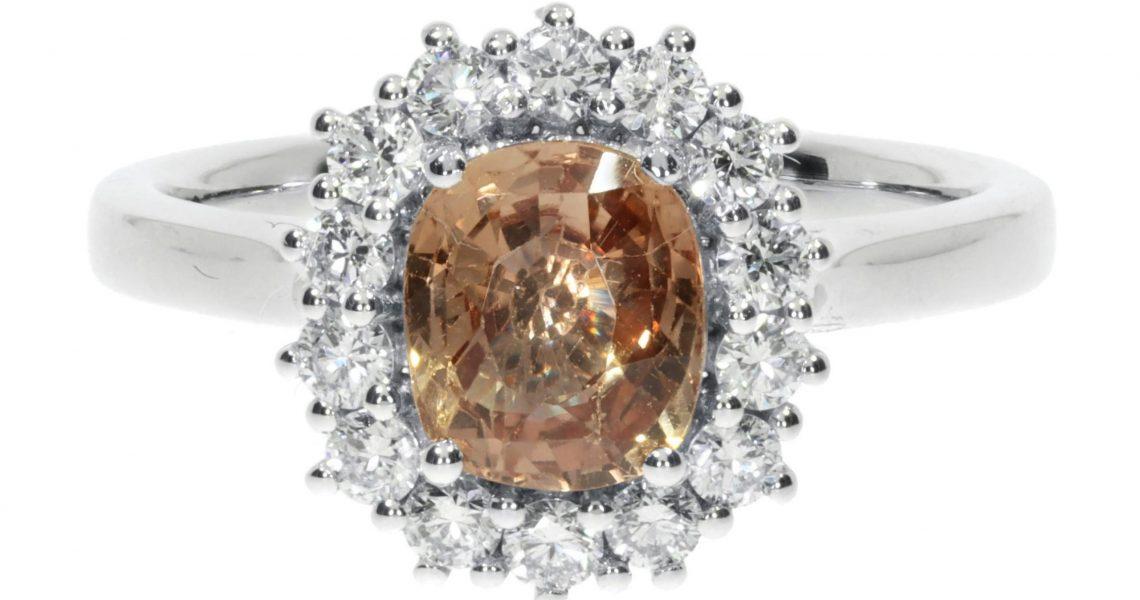 Bronze Sapphire and Diamond Cluster ring By Heidi Kjeldsen Jewellery R1680 Front