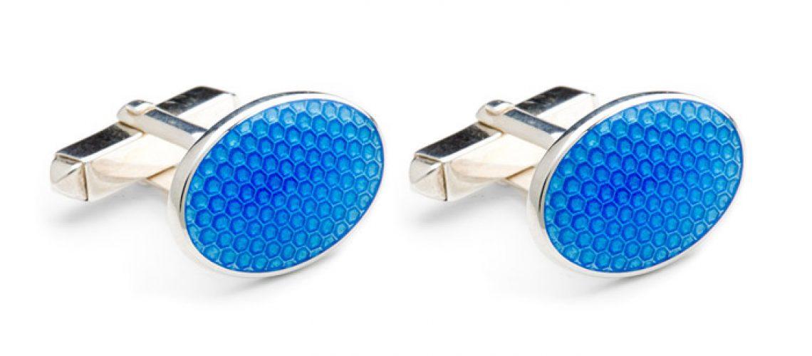 Striking Turquoise Heavy Weight Enamelled Sterling Silver Cufflinks
